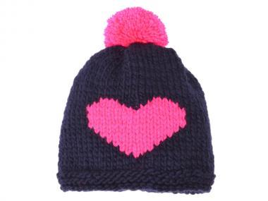 woollyheart Herz Mütze navy-pink