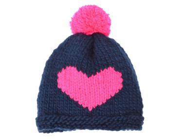 woollyheart Herz Mütze petrol-pink