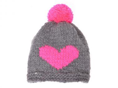 woollyheart Herz Mütze grau-pink